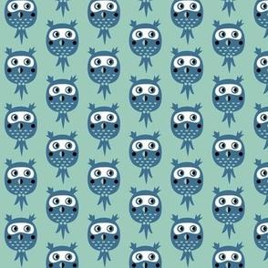 Birds in blue - owls