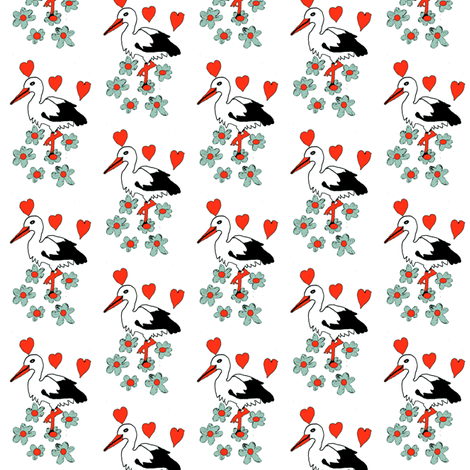 Stork in Love fabric by angelgreen on Spoonflower - custom fabric