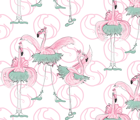 Ballet basics by Mes Dames Flamingoes fabric by majobv on Spoonflower - custom fabric