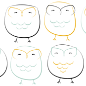owls: mint and mustard
