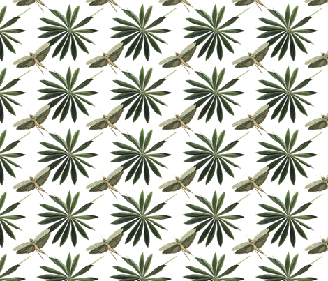 Green Leaf and Dragonflies fabric by mariannemathiasen on Spoonflower - custom fabric