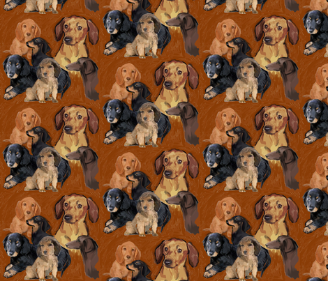 Dachshund Mural fabric by dogdaze_ on Spoonflower - custom fabric