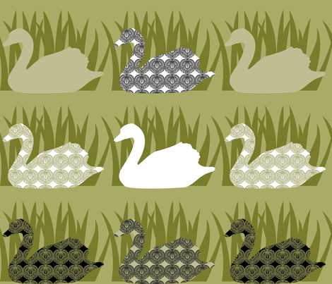 Swan Tattoo - pond slime fabric by meredithjean on Spoonflower - custom fabric