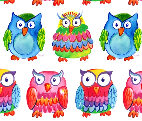 Wise Owls by Anna Bartlett fabric by shinyhappyart on Spoonflower - custom fabric