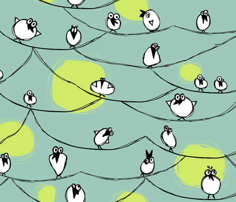BirdonaWire fabric by jtterwelp on Spoonflower - custom fabric