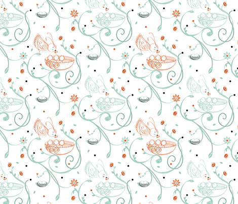 Chirping Garden fabric by simboko on Spoonflower - custom fabric