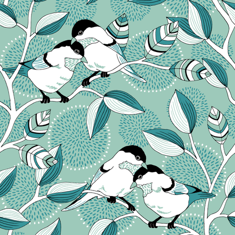 Love Birds - Limited Palette fabric by pattysloniger on Spoonflower - custom fabric