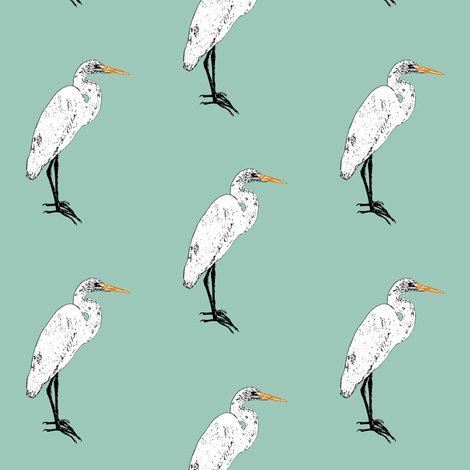 Endangered Egret fabric by bargello_stripes on Spoonflower - custom fabric