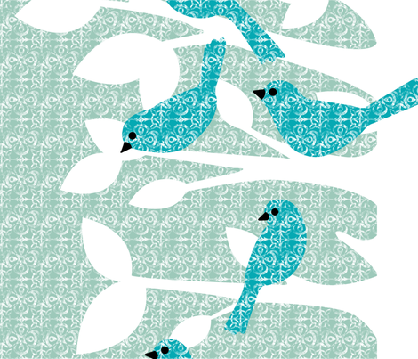 Birds of a Feather (zoom for full tree) fabric by mytinystar on Spoonflower - custom fabric