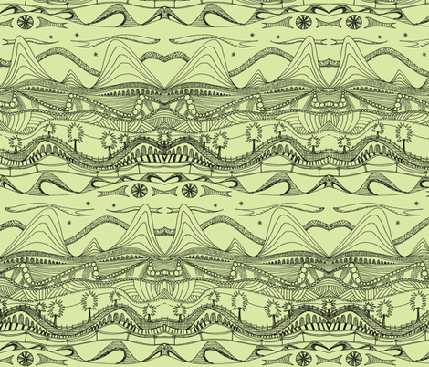 sketchbook landscape pale green fabric by wednesdaysgirl on Spoonflower - custom fabric