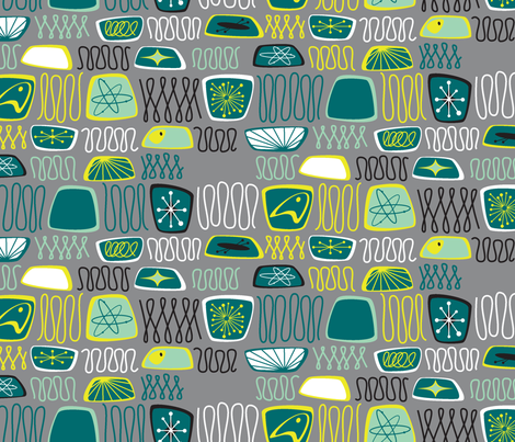 Atomic Abstract Teal fabric by tuppencehapenny on Spoonflower - custom fabric
