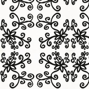 Black twirly flowers