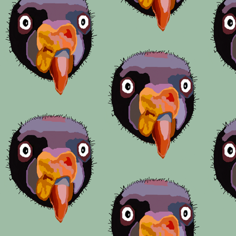 Creepy Vulture Head Polka Dots fabric by robin_rice on Spoonflower - custom fabric