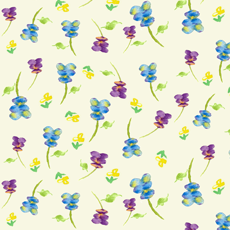 Ditsy Pansy  fabric by countrygarden on Spoonflower - custom fabric