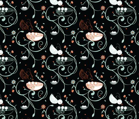 Chirping Garden in Black fabric by simboko on Spoonflower - custom fabric