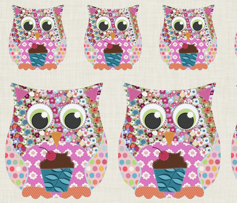 Appliqué Patch Owl Fronts fabric by scrummy on Spoonflower - custom fabric