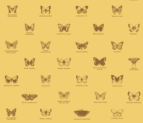 butterfly alphabet - serene wheat fabric by weavingmajor on Spoonflower - custom fabric