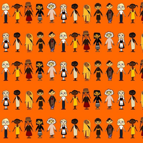 Multicultural_Children_Row_Orange_background_4