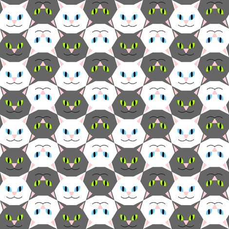 cat head 2 fabric by sef on Spoonflower - custom fabric