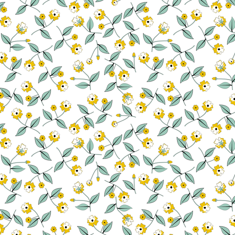 All About the Flowers - White fabric by inscribed_here on Spoonflower - custom fabric
