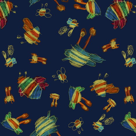 bubbie bees inverted fabric by weavingmajor on Spoonflower - custom fabric