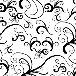 Fly Green Birdie - Medium Scale - 02M-BW - Black Ink Swirl Branches on White (zoom to see brush detail)