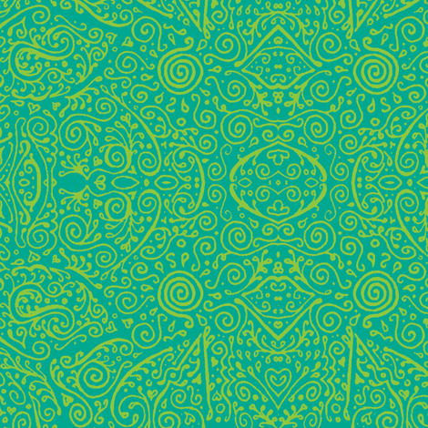 bridal mendhi - lime and aqua fabric by weavingmajor on Spoonflower - custom fabric