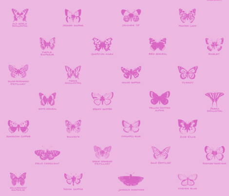 butterfly alphabet - pale pink fabric by weavingmajor on Spoonflower - custom fabric
