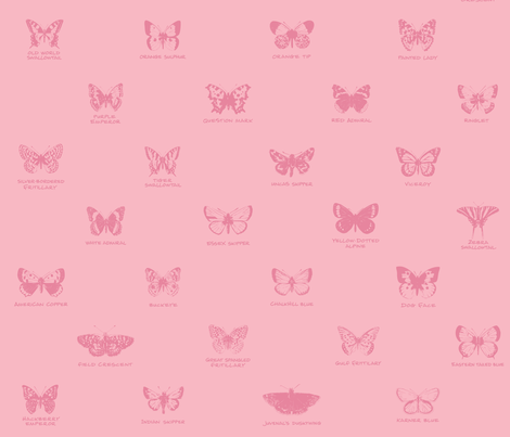 butterfly alphabet - bubblegum pink fabric by weavingmajor on Spoonflower - custom fabric