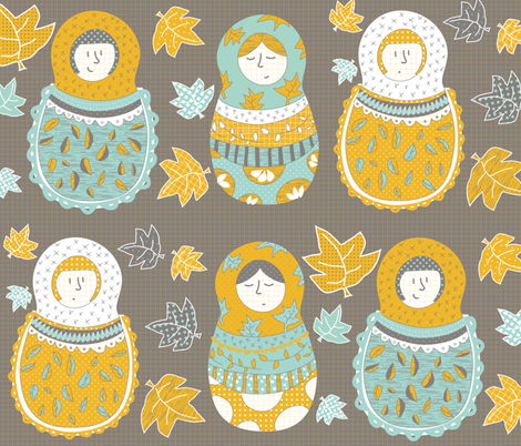 Autumnish Mamushkas fabric by catru on Spoonflower - custom fabric