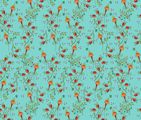 Russian Floral-ditsyaqua fabric by leslipepper on Spoonflower - custom fabric
