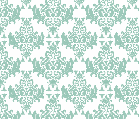 Black and White Damask-Spoonflower Green on White fabric by mayabella on Spoonflower - custom fabric