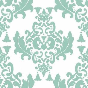 Black and White Damask-Spoonflower Green on White