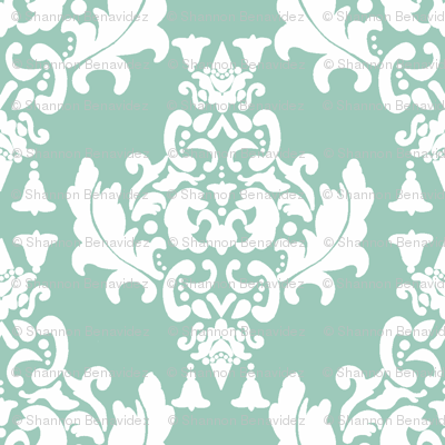 Damask-White on Spoonflower Green