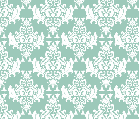 Damask-White on Spoonflower Green fabric by mayabella on Spoonflower - custom fabric
