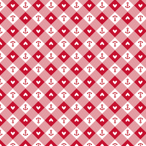 anchor gingham in red fabric by charlotteandstewart on Spoonflower - custom fabric