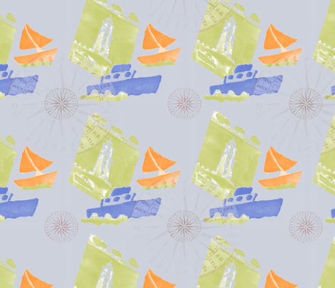 Ships Ahoy grey fabric by highflyer on Spoonflower - custom fabric