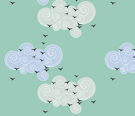 birds in the sky fabric by sary on Spoonflower - custom fabric