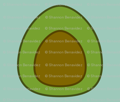 Large Avocado on Spoonflower green