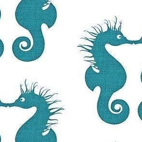 Seahorse Kisses Linen Aqua