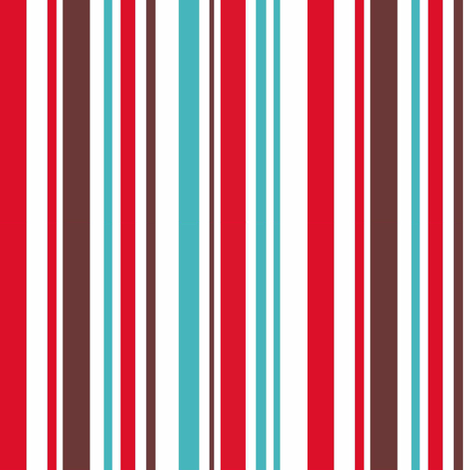 Aqua, red and brown stripe fabric by pinkbrain on Spoonflower - custom fabric