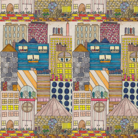 CityScape fabric by chellybelle on Spoonflower - custom fabric