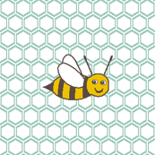 Bee Happy on SoFt Blue Honeycomb