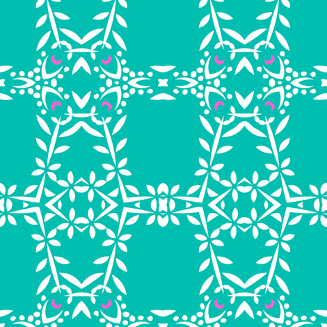 Phula Check (Aqua) fabric by nekineko on Spoonflower - custom fabric