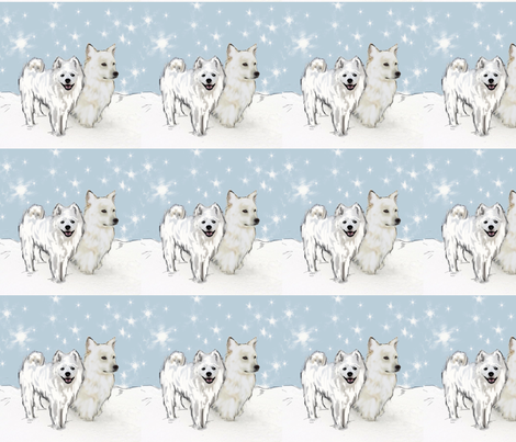 American Eskimo and Snowflakes fabric by dogdaze_ on Spoonflower - custom fabric