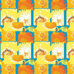 Flowers Centers Autumn - Orange,Yellow, Blue & White