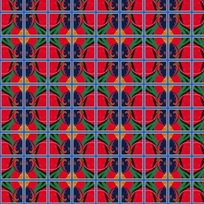 Peacock and Flowers Hot Plaid