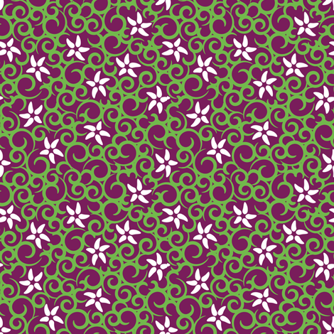 Flowers & Vines (purple) fabric by robyriker on Spoonflower - custom fabric