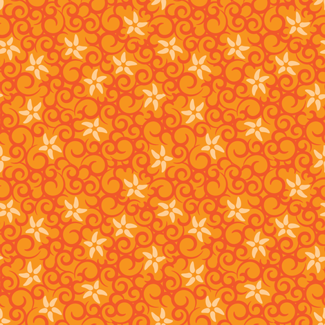Flowers & Vines (orange) fabric by robyriker on Spoonflower - custom fabric
