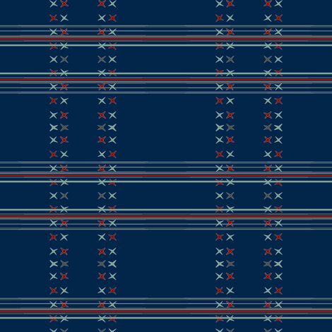 Cross stitch and stripe (midnight) fabric by palmrowprints on Spoonflower - custom fabric